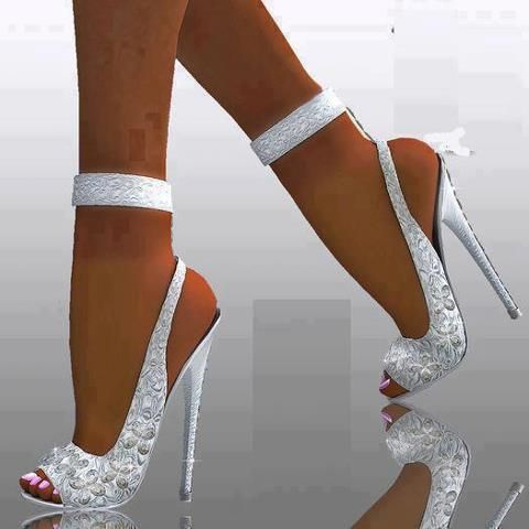 White Satin Heels for wedding