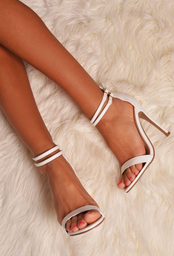 White Strappy Leather Look Stiletto Heel wedding shoes