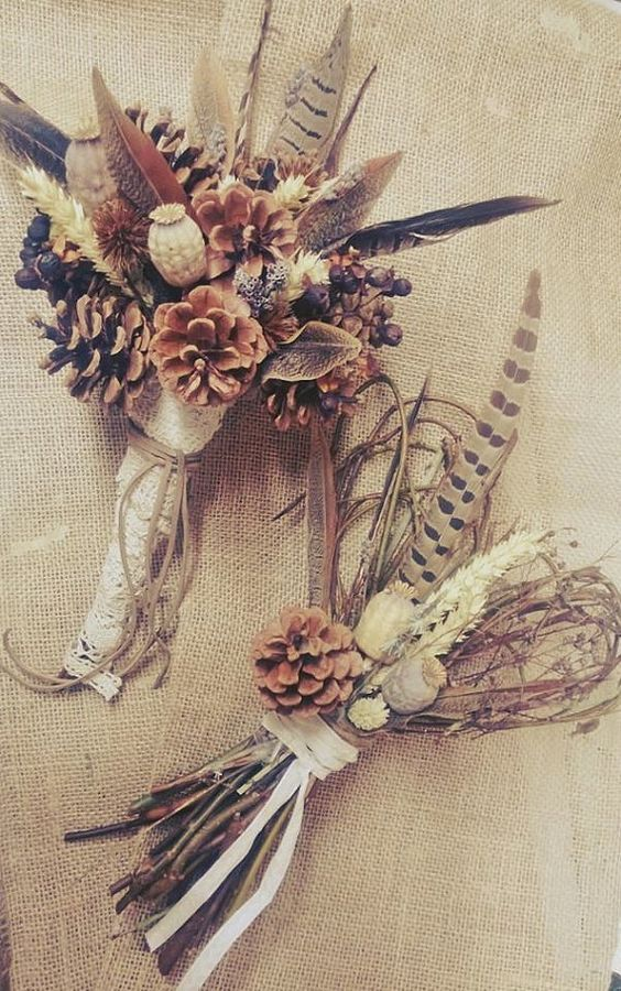 Wild Feather and Pinecone Bouquet Autumn Wedding Bouquet