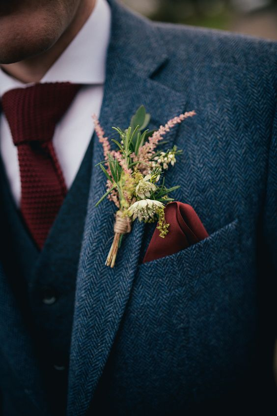 Wild Flower Buttonhole and Marsala Woven Tie
