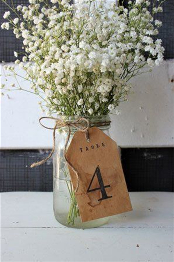 baby's breath centerpiece and table number ideas