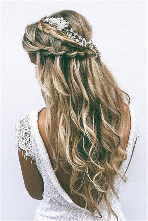 braid wavy hair long hair wedding tiara wedding hairstyles wedding accessories head