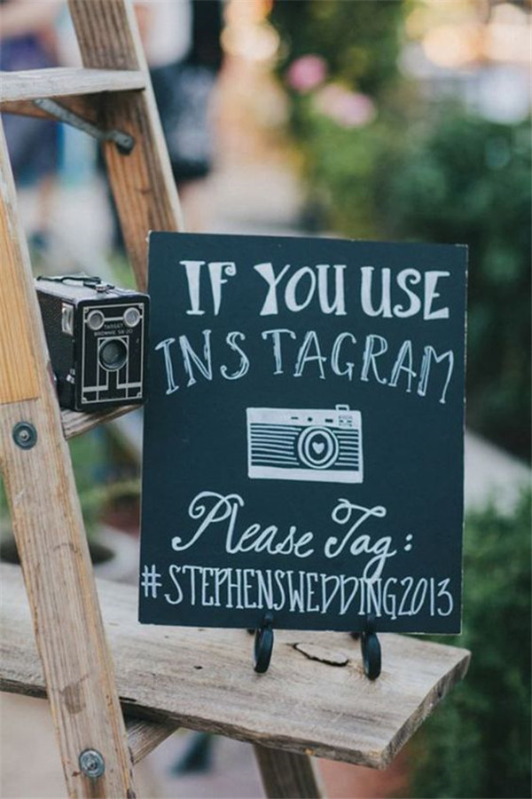 chalkboard wedding hashtag ideas with instagram