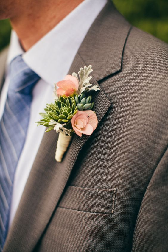 23 wedding boutonniere ideas you cannot resist cleanly arranged boutonniere sheens green with succulents for a farm chic wedding in the autumn junglespirit Images