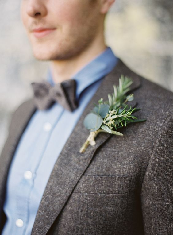 eucalyptus and herb boutonniere photo by Paula O'Hara
