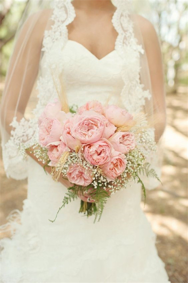pink peony and babys breath bouquet