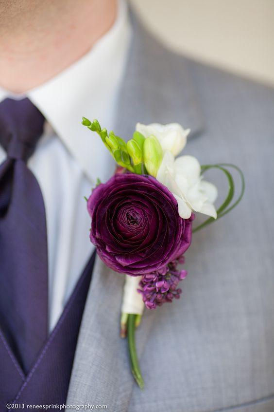 purple ranunculus wedding boutonniere