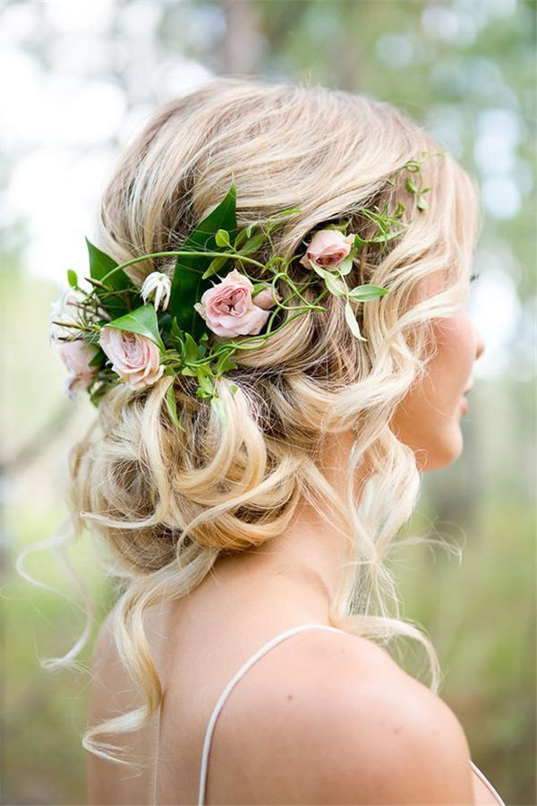 18 wedding updo hairstyles with greenery decorations rose and greenery wedding updo hairstyle ideas junglespirit Images