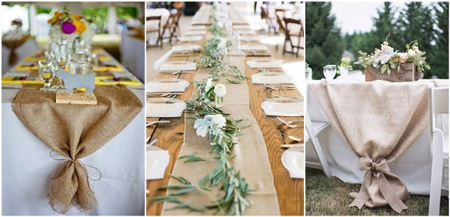 22 rustic burlap wedding table runner ideas