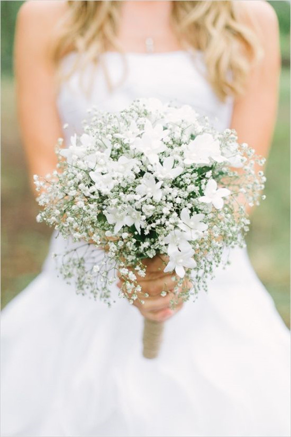 white bridal bouquet with babys breath simple and elegant