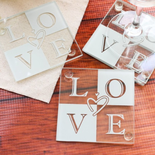 3.Glass love coasters