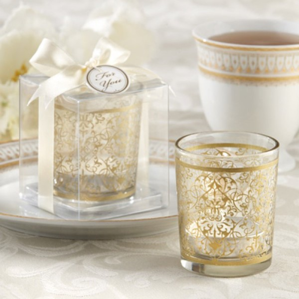 9.Golden Renaissance Glass Tea Light Holder