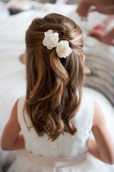 A classic hairstyle, perfectly appropriate for your littlest bridal party member