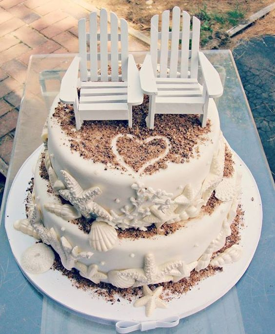 Beach Themed Summer Wedding Cake