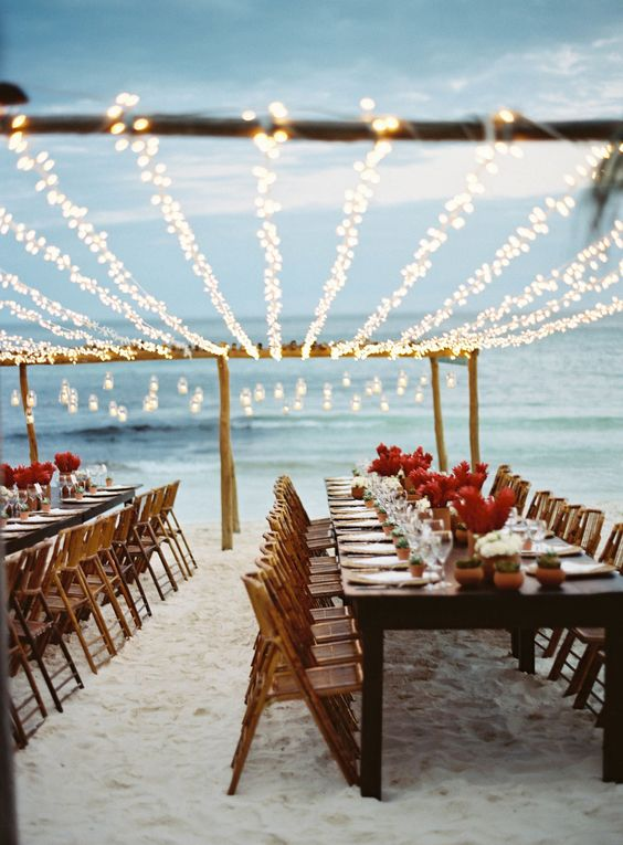 Beach Wedding and Lights Red Flowers Photography by TEC PETAJA