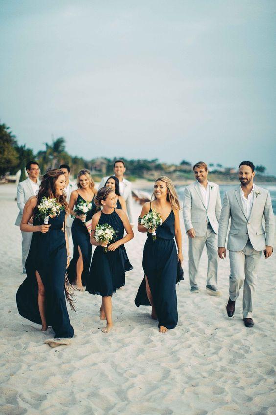 Beach Wedding Bridesmaids In Blue, Groomsmen In Grey   Photography