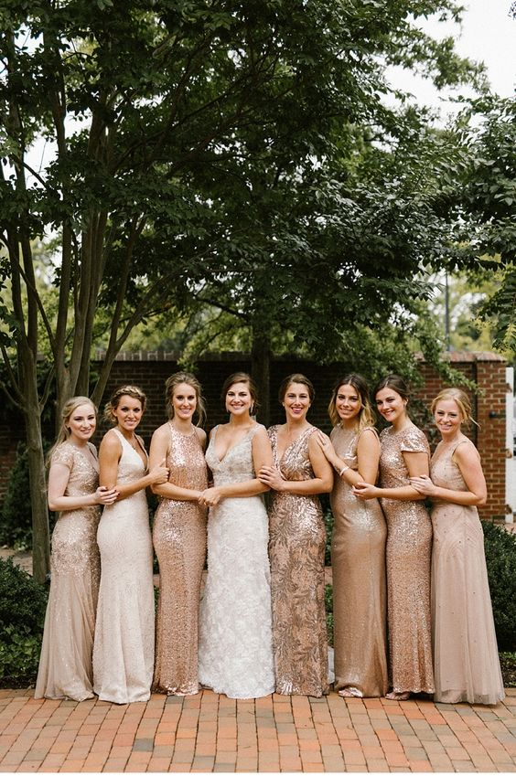 Beautiful mismatched gold & rosegold sequin bridesmaid dresses