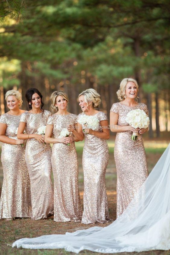 Bling Rose Gold Mermaid Bridesmaid Dresses with Short Sleeve