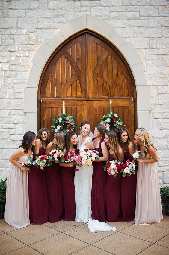 Burgundy and Mauve Amsale Bridesmaids photography by Tracyenochphoto