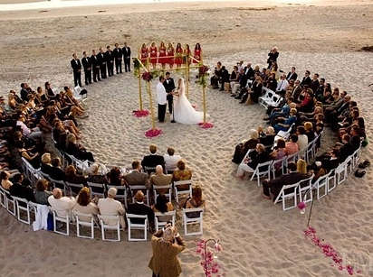 Circular Ceremony Seating for beach wedding