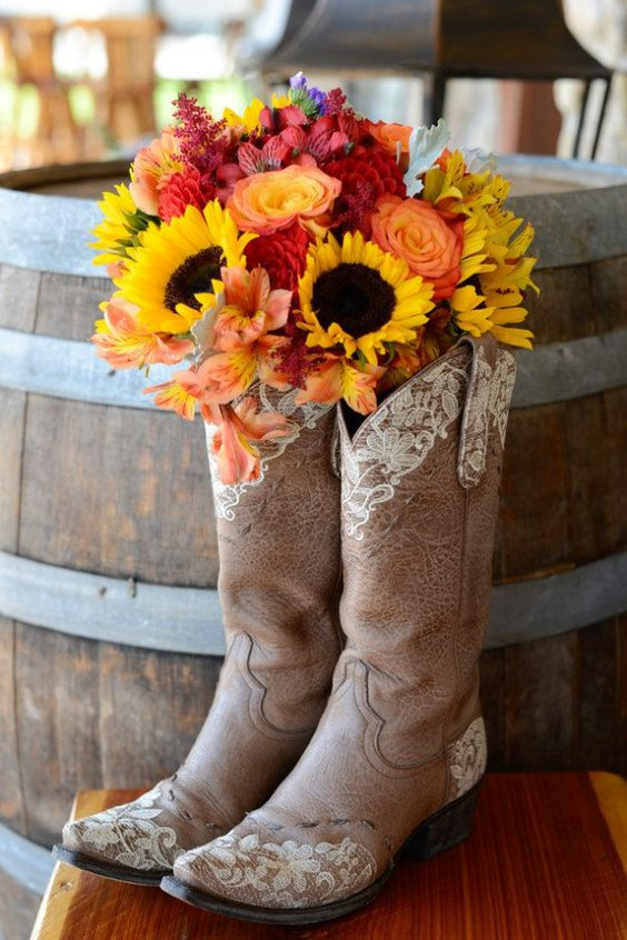 Cowboy Boots for rustic wedding using sunflowers at your reception