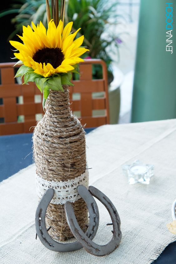 Diy Country Western Wedding Centerpiece With Sunflower And