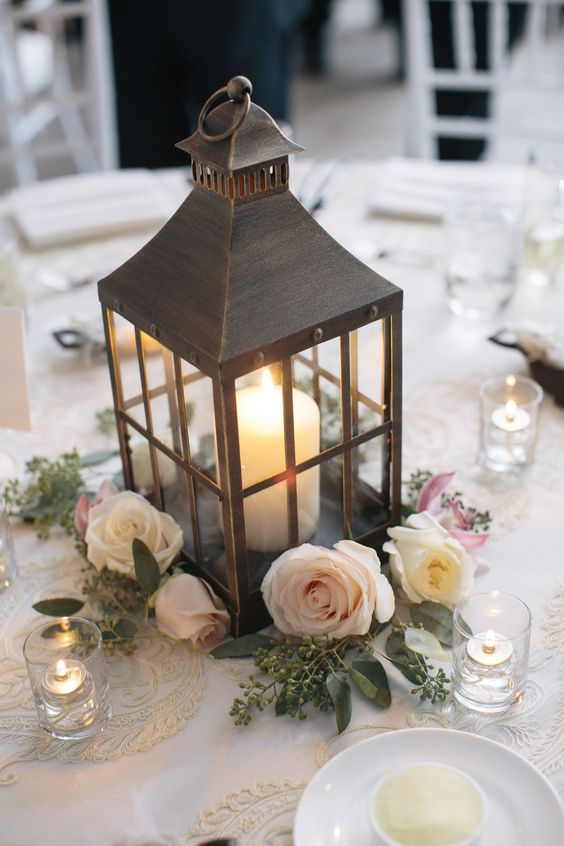 Elegant Greek Wedding Lantern centerpiece ideas