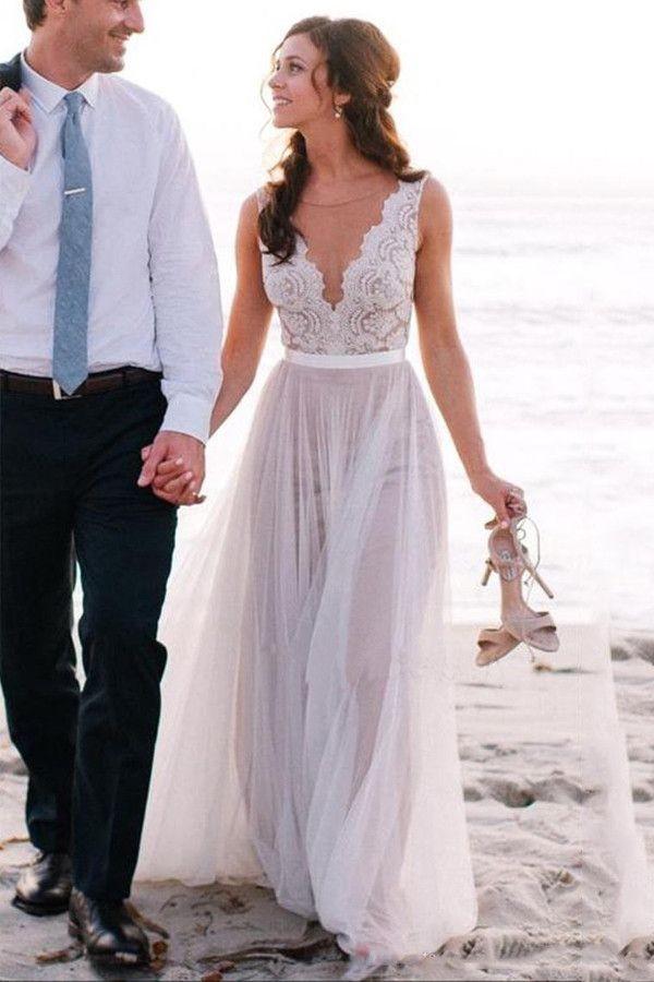 Elegant Scoop Neck Lace A Line Tulles Beach Wedding Dresses