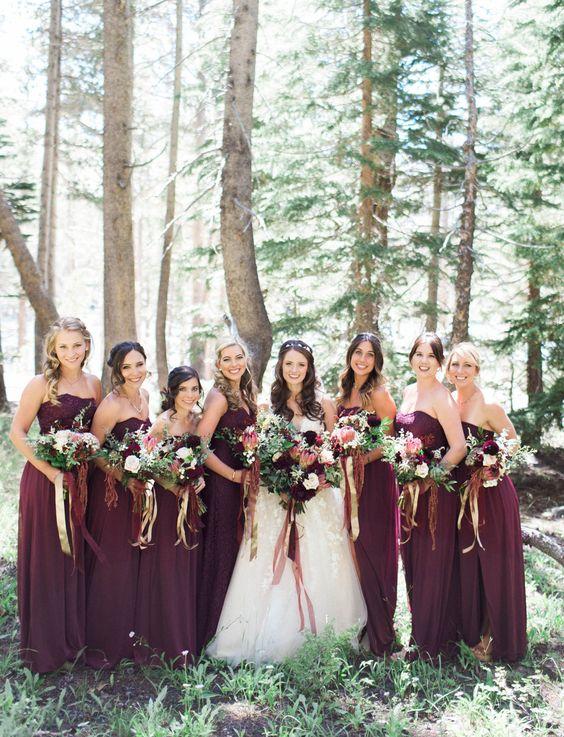 Fall wedding inspiration! Burgundy bridesmaids