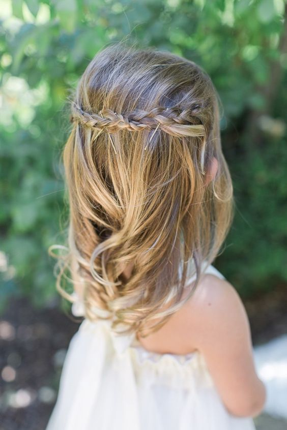 Flower girl hair with pinned up braids