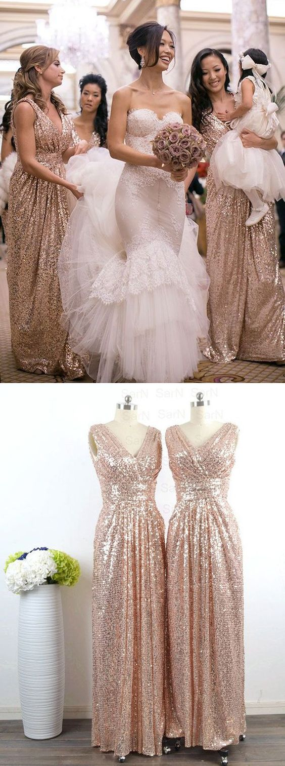 321f5f09a1a Glamorous V-neck Floor Length Sleeveless Sequins Rose Gold Bridesmaid Dress