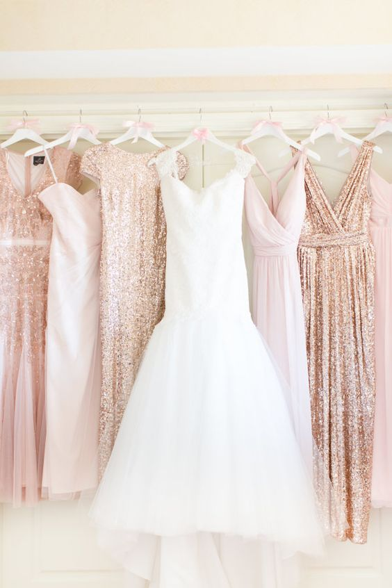 Glittery rose gold and blush bridesmaid dresses Photography by Amy & Jordan