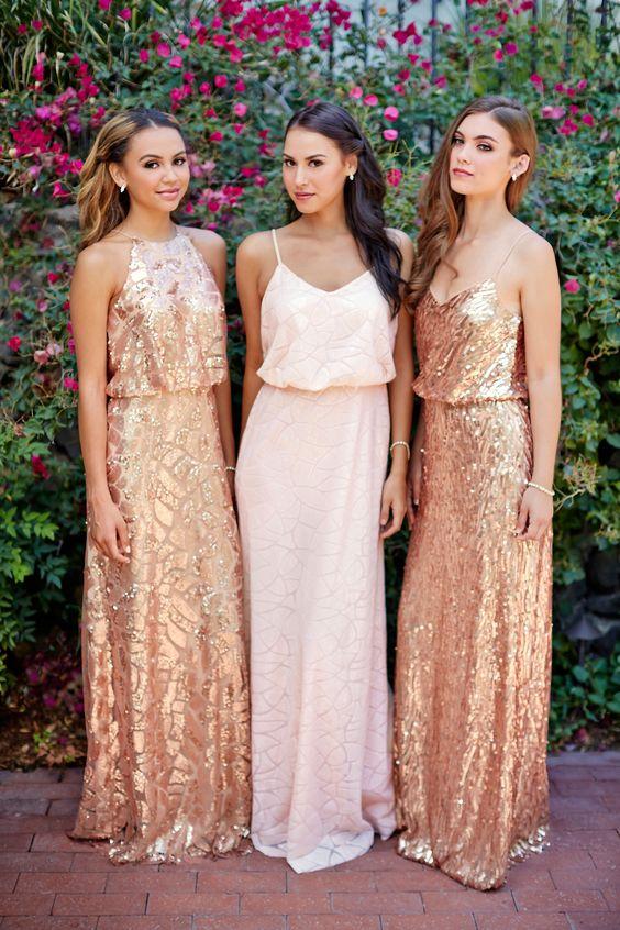 Gorgeous gold sequin bridesmaid dresses