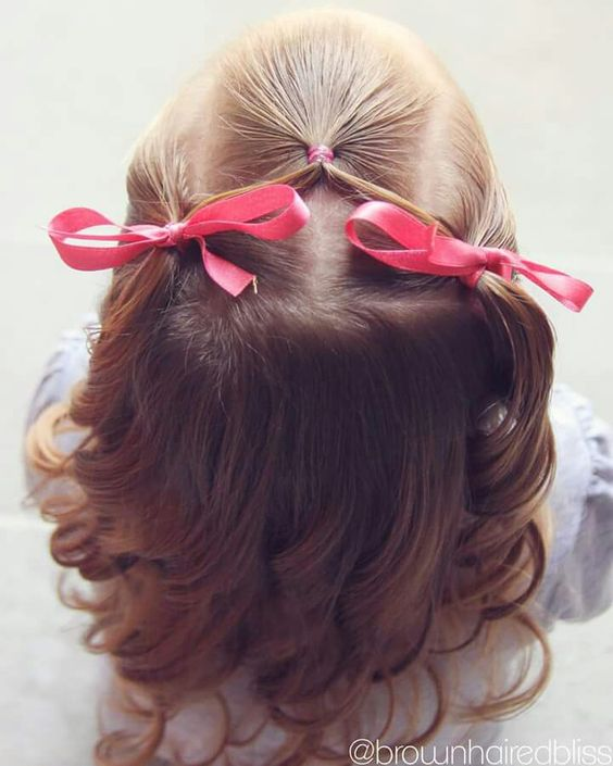 Half up toddler hair style for flower girl