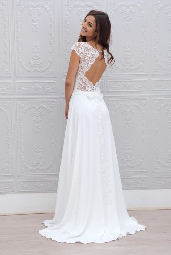 Keyhole back embroidered cap sleeve ivory illusion a line long vintage chiffon wedding dresses
