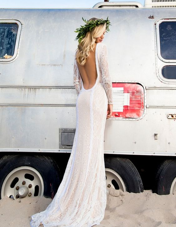 Lace Gown with Open Back Boho and Beach Wedding Dresses