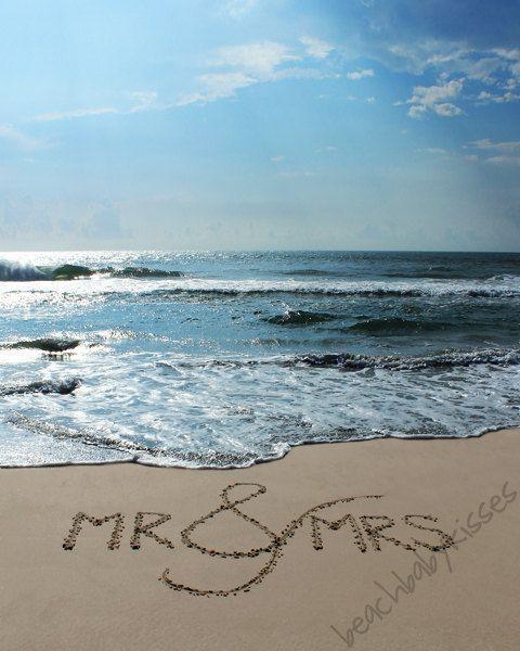 Mr. & Mrs. Sand Writing Beach Wedding Gift by BeachBabyKisses