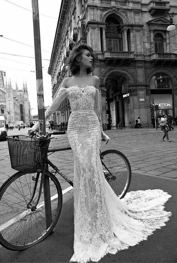 Off the shoulder Liz Martinez gown