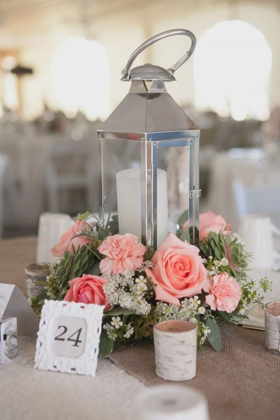 Romantic Lantern & Roses Centerpiece