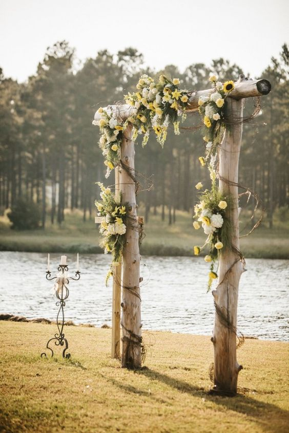 rustic sunflower wedding altar for me this is the only way
