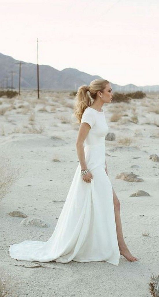 Sarah seven slit beach wedding dresses
