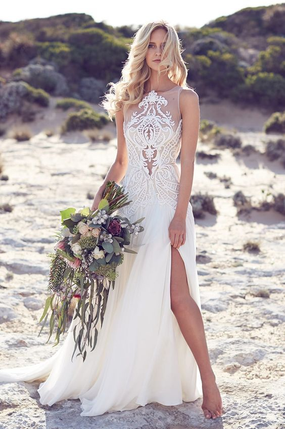 Simple flowing chiffon beach wedding dresses