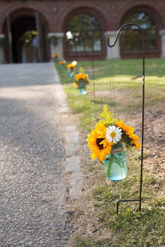 Sunflower themed wedding reception
