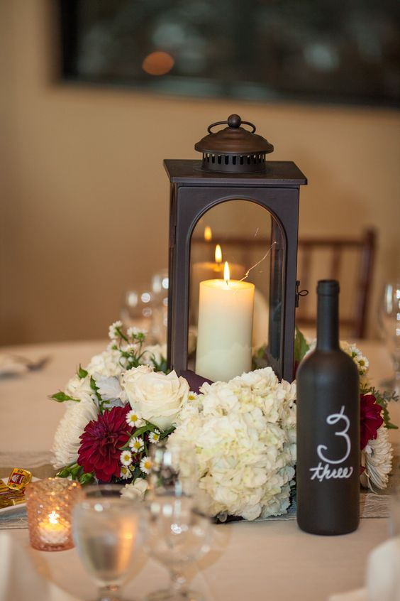 Wedding lanterns with Paint wine bottle with chalk paint and write table number