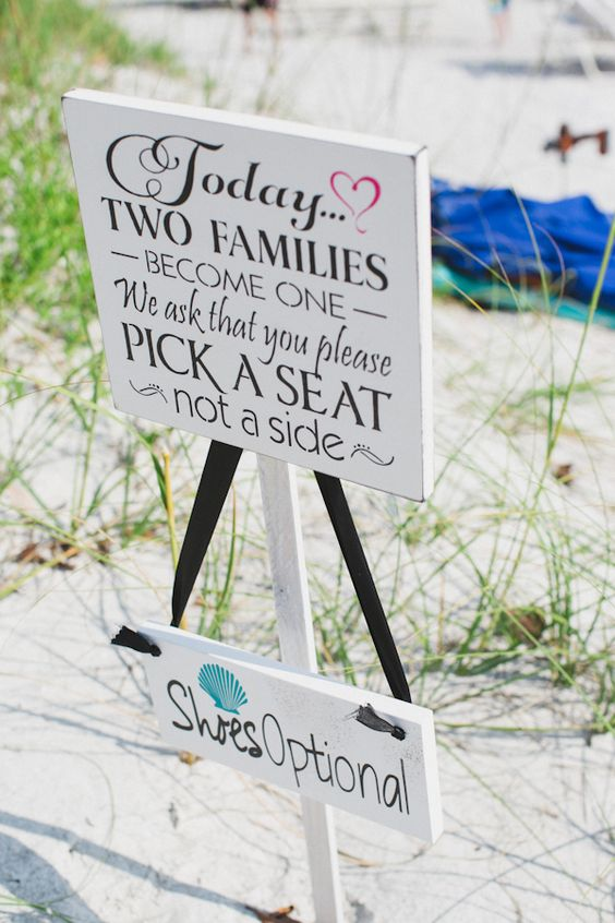 beach wedding signs - pick a seat not a side