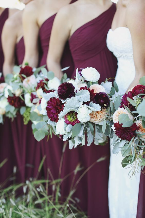 burgundy bridesmaid dress and bouquets by Forever Photography