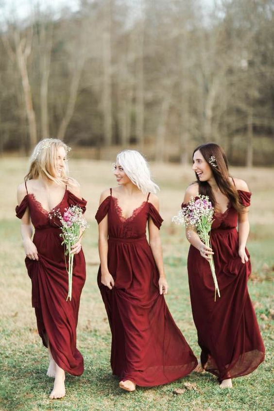 burgundy bridesmaids dresses would make the perfect accent for a vineyard wedding