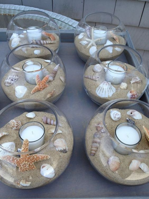 fish bowl centerpiece for beach wedding