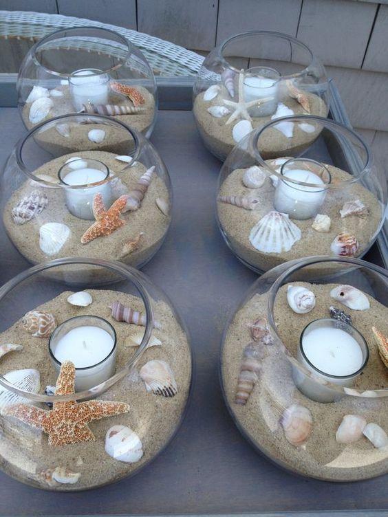 fish bowl centerpiece for beach wedding