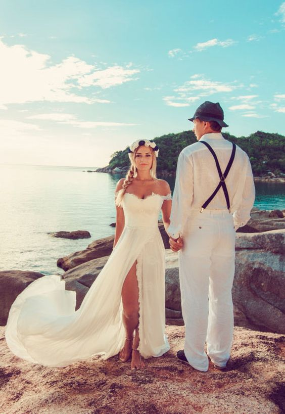 lace and chiffon off the shoulder sexy beach wedding dress